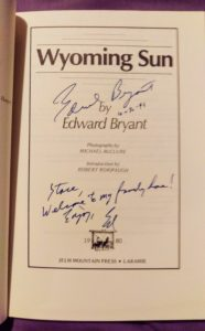 Title page of Wyoming Sun, inscribed to me by Ed Bryant